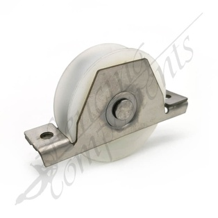 90mm Nylon White Sliding Gate Wheel with Stainless Steel Bracket (120kg/wheel)