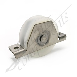 [1003] 90mm Nylon White Sliding Gate Wheel with Stainless Steel Bracket (120kg/wheel)