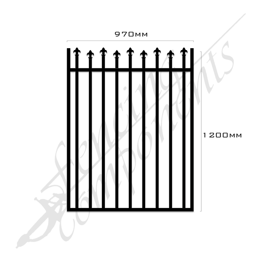 Gate Aluminium HIGH LOW SPEARS 970W x 1.2H (Black)