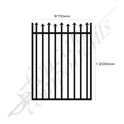 [FPABLK-HL-G-9712] Gate Aluminium HIGH LOW SPEARS 970W x 1.2H (Black)