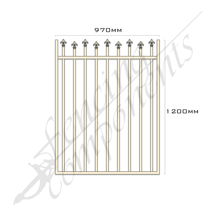 Gate Aluminium HIGH LOW SPEARS 970W x 1.2H (Primrose)