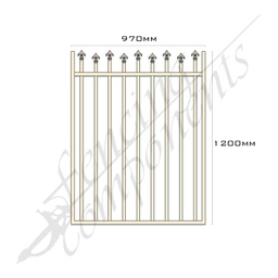 [FPAPRI-HL-G-9712] Gate Aluminium HIGH LOW SPEARS 970W x 1.2H (Primrose)