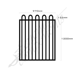 [FPABLK-LT-G-9712] Gate Aluminium LOOP TOP 970W x 1.2H (Black)