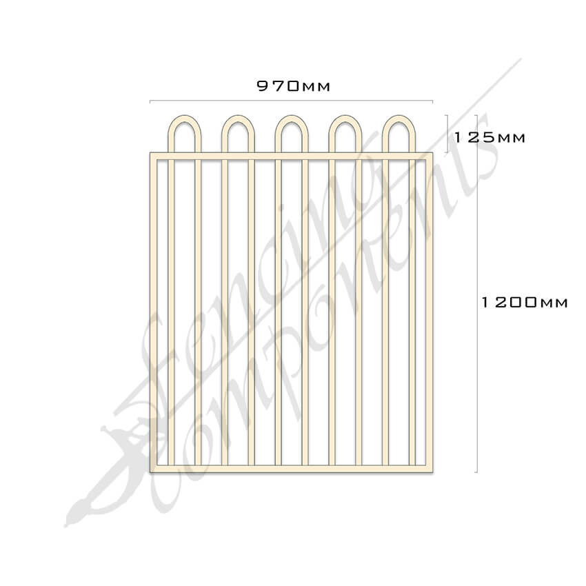 Gate Aluminium LOOP TOP 970W x 1.2H (Primrose)