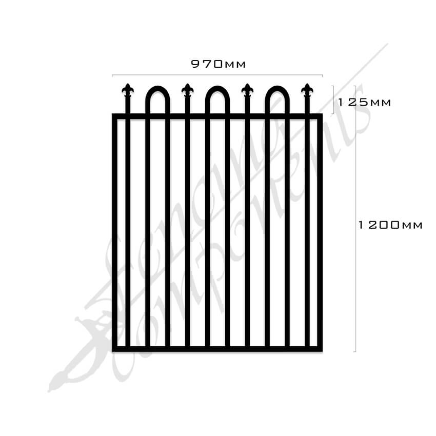 Gate Aluminium LOOP+SPEAR 970W x 1.2H (Black)