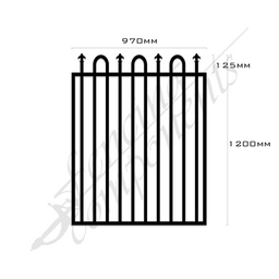 [FPABLK-LS-G-9712] Gate Aluminium LOOP+SPEAR 970W x 1.2H (Black)