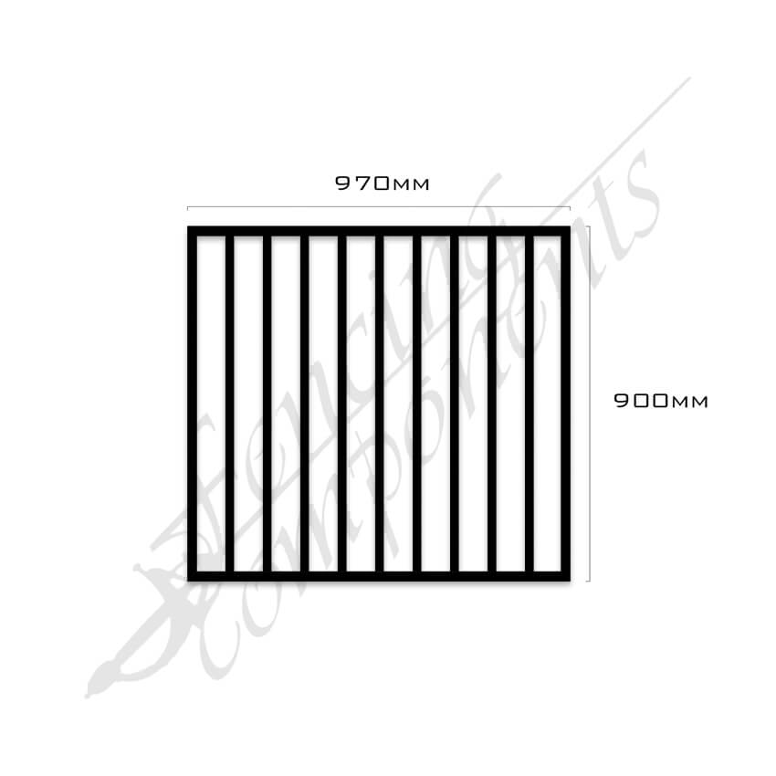 Gate Aluminium FLAT TOP 970W x 900H (Black)
