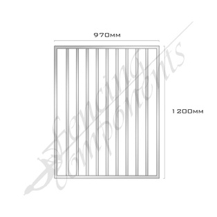 Gate Aluminium FLAT TOP 970W x 1.2H (Mill Finish)