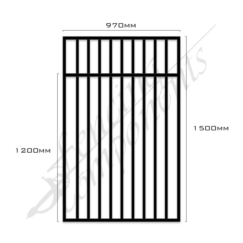 Gate Aluminium Pool FLAT TOP 970W x 1.5H (Black)