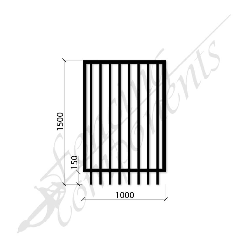 PEDESTRIAN FLAT TOP DET GATE 1.0m x1.5H (Black) (CD115, 40x40 Rail, 25x25 Vertical)