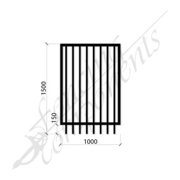 [FPSBLK-GP-G-1015] PEDESTRIAN FLAT TOP DET GATE 1.0m x1.5H (Black) (CD115, 40x40 Rail, 25x25 Vertical)