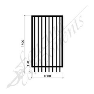 PEDESTRIAN FLAT TOP DET GATE 1.0m x1.8H (Black) (CD115, 40x40 Rail, 25x25 Vertical)