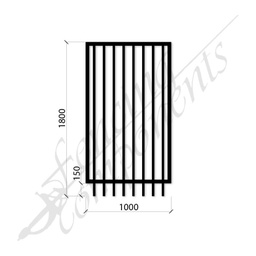 [FPSBLK-GP-G-1018] PEDESTRIAN FLAT TOP DET GATE 1.0m x1.8H (Black) (CD115, 40x40 Rail, 25x25 Vertical)