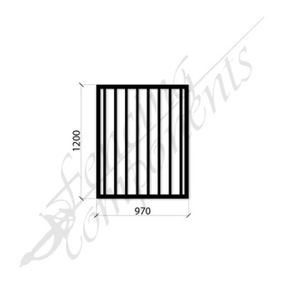 PEDESTRIAN FLAT TOP DET GATE 0.97m x1.2H (Black) (CD115, 40x40 Rail, 25x25 Vertical)