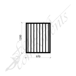 [FPSBLK-GP-G-9712] PEDESTRIAN FLAT TOP DET GATE 0.97m x1.2H (Black) (CD115, 40x40 Rail, 25x25 Vertical)