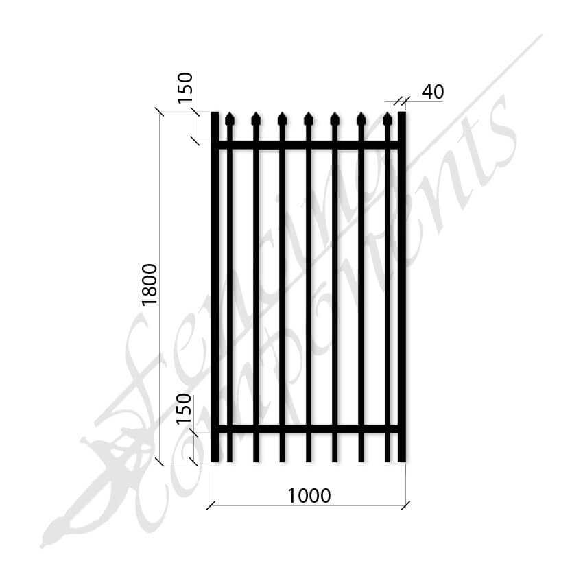 Security Gate XLT Steel Black 1.8H x 1.0W