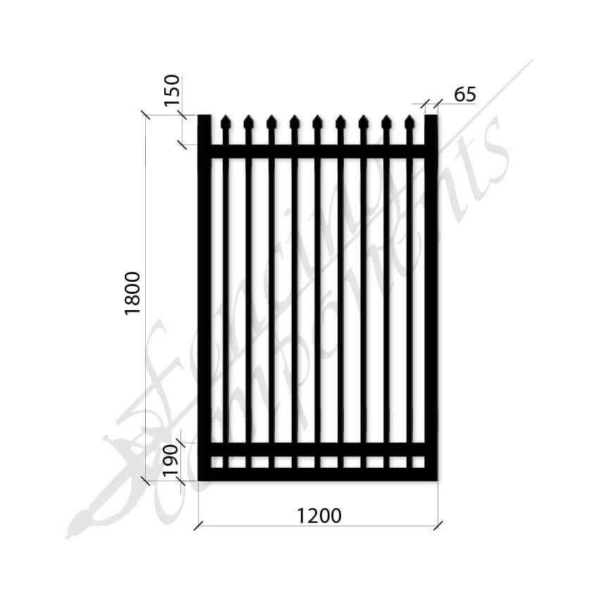Security Gate MED Steel Black 1.8H x 1.2W (CD115mm)(65x65frame)