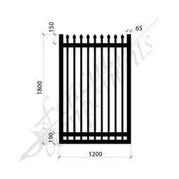 [SPG1218MEDBLK] Security Gate MED Steel Black 1.8H x 1.2W (CD115mm)(65x65frame)