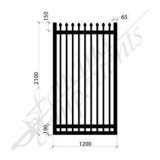 Security Gate MED Steel Black 2.1H x 1.2W (CD115mm)(65x65frame)