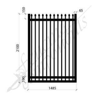 Security Gate MED Steel Black 2.1H x 1.485W (CD115mm)(65x65frame)