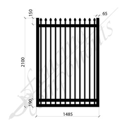 [SPG1521MEDBLK] Security Gate MED Steel Black 2.1H x 1.485W (CD115mm)(65x65frame)