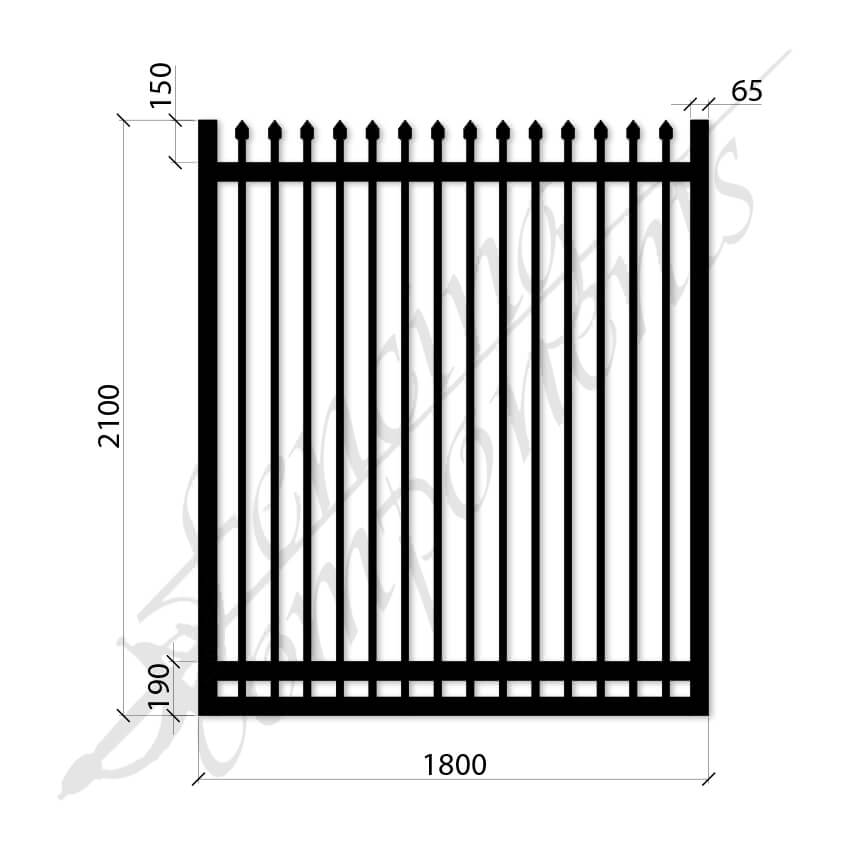 Security Gate MED Steel Black 2.1H x 1.8W (CD115mm)(65x65frame)