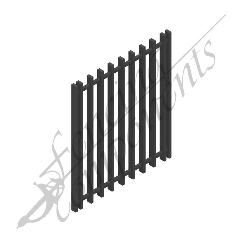 Aluminium Blade 3D Gate 950Wx1200H (25x50 Picket/Rail 25x25)(Black)