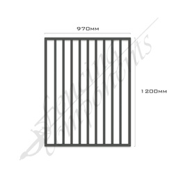 [FPAMON-G-9712] Gate Aluminium FLAT TOP 970W x 1.2H (Monument)