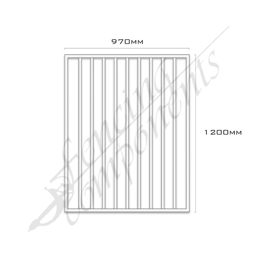 Gate Aluminium FLAT TOP 970W x 1.2H (Frost/Off White/Surfmist)