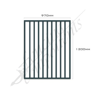 Gate Aluminium FLAT TOP 970W x 1.2H (Ironstone/Blue Rock/Iron Grey)