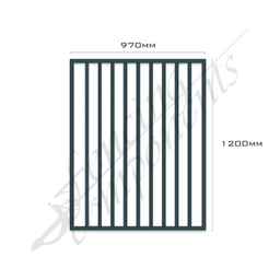 [FPAIRO-G-9712] Gate Aluminium FLAT TOP 970W x 1.2H (Ironstone/Blue Rock/Iron Grey)